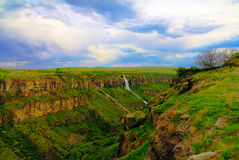 Panorama view to Kasagh gorge and river with waterfall near Hovhannavank monastery, Aragatsotn, Armenia. Panorama view to Kasagh gorge and river with waterfall Stock Photo