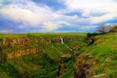 Panorama view to Kasagh gorge and river with waterfall near Hovhannavank monastery, Aragatsotn, Armenia Stock Photo