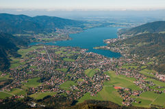 Panorama view to lake Tegernsee royalty free stock photo