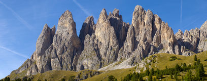 Panorama view to mountains in dolomite royalty free stock images