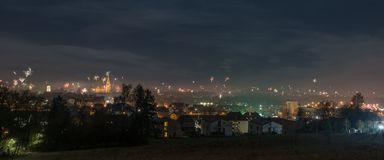 Panorama view to the New Years eve Firework in Regensburg, Silvester 2018, Germany.  Royalty Free Stock Photo