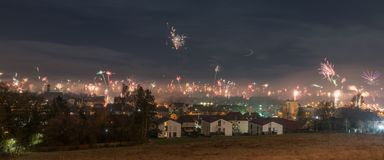 Panorama view to the New Years eve Firework in Regensburg, Silvester 2018, Germany.  Royalty Free Stock Images
