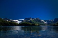 Panorama view to Nordfjorden and Svartisen glacier, Meloy, Norway Stock Photos