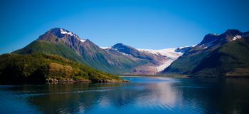Panorama view to Nordfjorden and Svartisen glacier, Meloy, Norway Stock Photography