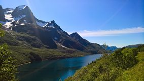 Panorama view to Nordfjorden and Svartisen glacier, Meloy, Norway Royalty Free Stock Photography