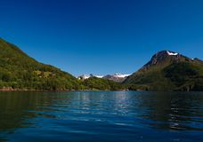 Panorama view to Nordfjorden and Svartisen glacier, Meloy, Norway Royalty Free Stock Images