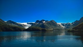 Panorama view to Nordfjorden and Svartisen glacier, Meloy, Norway Royalty Free Stock Image