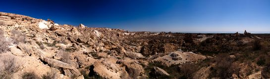 Panorama view to Plateau Ustyurt and the edge of Aral sea at Duana cape, Karakalpakstan, Uzbekistan. Panorama view to Plateau Ustyurt and the edge of Aral sea at Royalty Free Stock Image