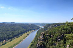 Panorama view to river Elbe from rocks Bastei in Rathen, Saxon Switzerland Royalty Free Stock Images