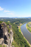 Panorama view to river Elbe from rocks Bastei in Rathen, Saxon Switzerland Stock Image