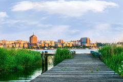 Panorama view to Rostock. River Warnow and City port. Stock Images