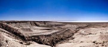 Panorama view to saline Barsa Kelmes lake and Ustyurt plateau in Karakalpakstan, Uzbekistan. Panorama view to saline Barsa Kelmes lake and Ustyurt plateau at Royalty Free Stock Image