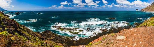 Panorama view to stone coast ocean Royalty Free Stock Photo