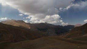 Panorama view to Tian Shan mountain and Coal Mine Kara-Keche, Naryn Province, Kyrgyzstan stock photography