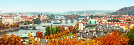 Panorama view to Vltava river in Prague Royalty Free Stock Images