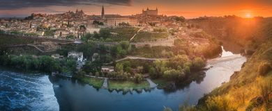 Panorama view of Toledo. Panorama view of ancient city and Alcazar on a hill over the Tagus River, Castilla la Mancha, Toledo, Spain Stock Photography
