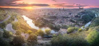 Panorama view of Toledo and Tagus River, Spain royalty free stock photography