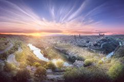 Panorama view of Toledo and Tagus River, Spain stock images