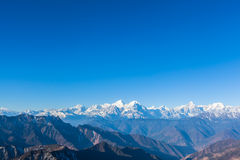 Panorama view on top of cattle back mountain. Panorama view of the mountain range including Minya Konka (7556m) from top of cattle back mountain in the morning royalty free stock photos