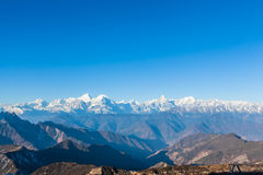 Panorama view on top of cattle back mountain. Panorama view of the mountain range including Minya Konka (7556m) from top of cattle back mountain in the morning royalty free stock photography