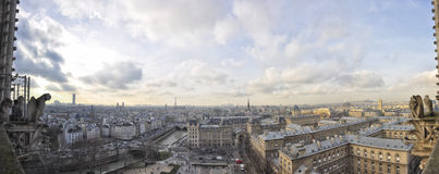 Panorama view from top of Notre dame, paris Royalty Free Stock Image