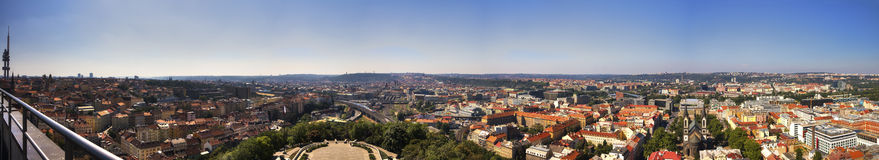 Panorama view from the top of the Vitkov Memorial on the Prague landscape on a sunny day Stock Image
