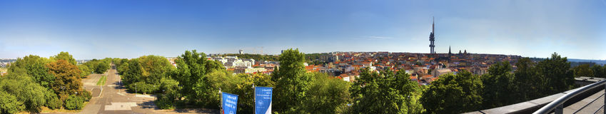 Panorama view from the top of the Vitkov Memorial on the Prague landscape on a sunny day Royalty Free Stock Images