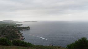 Panorama view from Torre Nova des Cap Vermell to Torre des Cap Vermell, Canyamel, Mallorca, Spain stock video