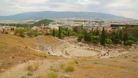 Panorama view of tourist attractions in Athens, cultural heritage conservation. Stock footage stock footage