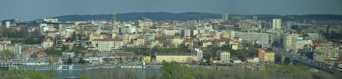 Panorama view towards Belgrade the capital of Serbia. A panorama view towards the the confluence of the Sava river and the Danube river in Belgrade, Serbia. As stock photo