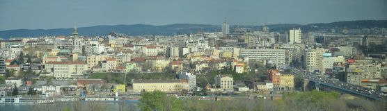 Panorama picture of the city of Belgrade, Serbia. A panorama view towards the old city of Belgrade , capital of Serbia, as seen from the Usce tower. The river in stock images