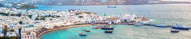 Panorama of view of traditional greek village with white houses on Mykonos Island, Greece, Stock Image