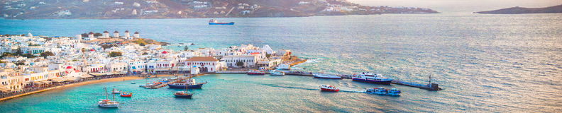 Panorama of view of traditional greek village with white houses on Mykonos Island, Greece, Royalty Free Stock Photo