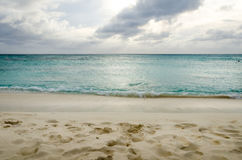 Panorama view of the turquoise Caribbean sea Stock Image