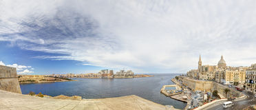 Panorama view on the Valletta city with its historic cityscape and sea and the St. Pauls Cathedral Royalty Free Stock Image