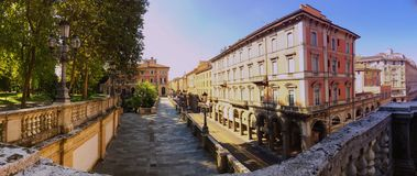 Panorama view of Via Indipendenza, the main street of Bologna, Italy royalty free stock photography