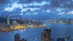 Victoria Harbor of Hong Kong city at dusk. Panorama view of Victoria Harbor of Hong Kong city at dusk Stock Photography