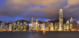 Panorama view of Victoria Harbor Stock Images