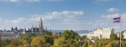 Panorama view at the Vienna Town Hall, Imperial Court Theater, and part of the Austrian Parliament Building Royalty Free Stock Photography