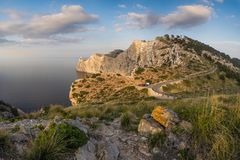 Panorama View of the Viewpoint to Cape Formentor in Mallorca at royalty free stock photos