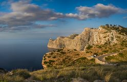 Panorama View of the Viewpoint to Cape Formentor in Mallorca at. Sunset, on top of a cliff next to the panoramic road Stock Photos