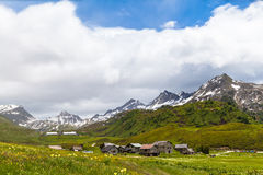 Panorama view of the village in the alps Royalty Free Stock Photo