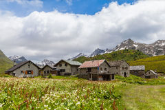 Panorama view of the village in the alps Royalty Free Stock Photos