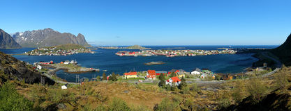Panorama view of village Reine, Norway stock photo