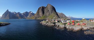 Panorama view of village Reine, Norway Royalty Free Stock Photography