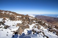 Panorama view from volcano Teide on Tenerife, Spain Royalty Free Stock Photos