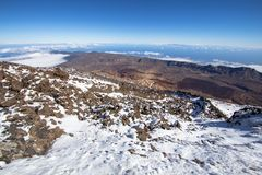 Panorama view from volcano Teide on Tenerife, Spain Stock Images