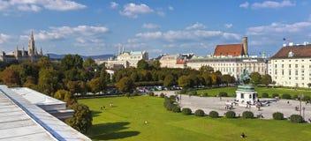Panorama view at Volksgarten park and the Heldenplatz in Vienna Stock Images