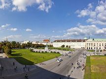 Panorama view at Volksgarten park and the Heldenplatz in Vienna Stock Photography