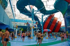 Panorama view of water park, summer time Royalty Free Stock Photo